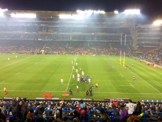 Super Rugby! Chiefs (New Zealand) vs. Stormers (South Africa). Unfortunately, the Stormers got beat pretty bad but I still had a blast!